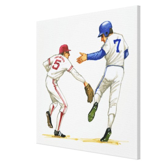 Baseball runner and fielder at a base canvas print
