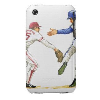 Baseball runner and fielder at a base iPhone 3 Case-Mate case