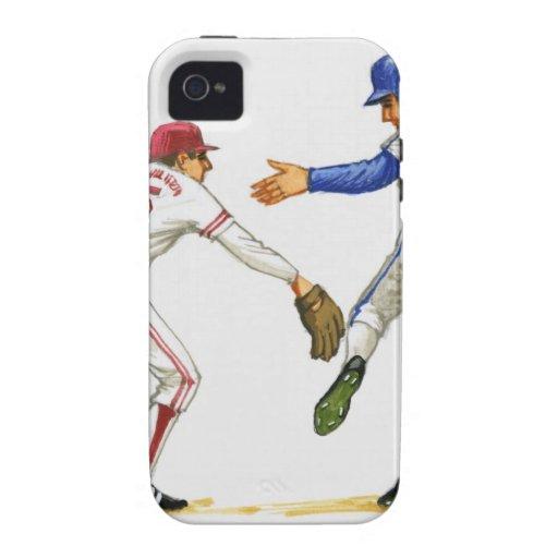 Baseball runner and fielder at a base iPhone 4 case
