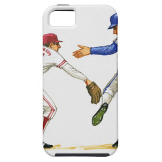 Baseball runner and fielder at a base iPhone SE/5/5s case