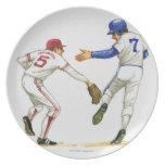 Baseball runner and fielder at a base melamine plate
