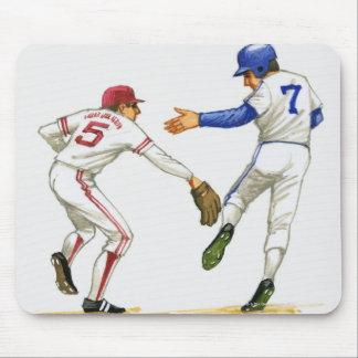 Baseball runner and fielder at a base mouse pad