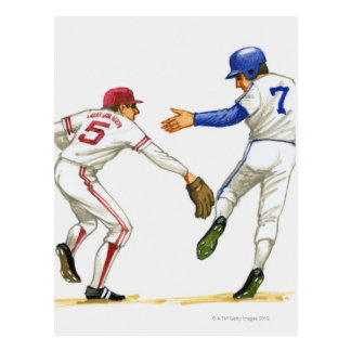 Baseball runner and fielder at a base postcard