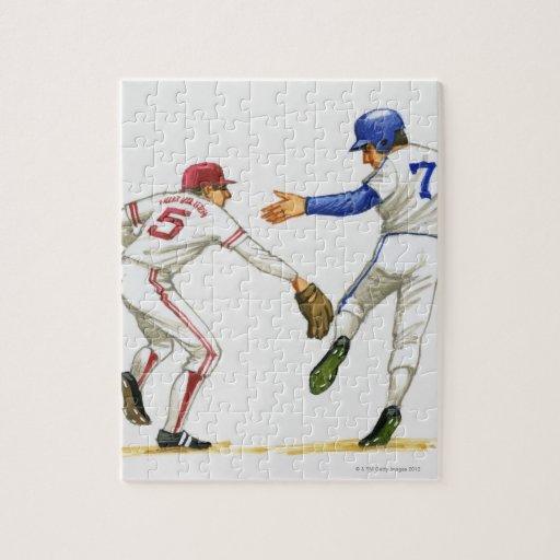 Baseball runner and fielder at a base jigsaw puzzles