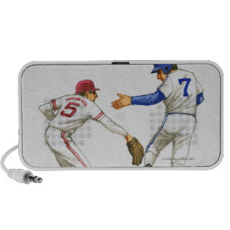Baseball runner and fielder at a base iPod speakers