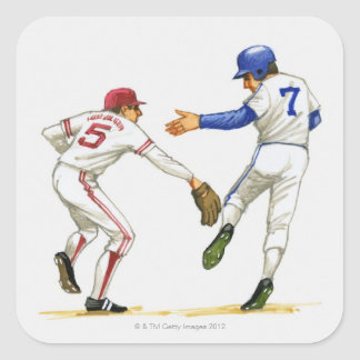 Baseball runner and fielder at a base square sticker