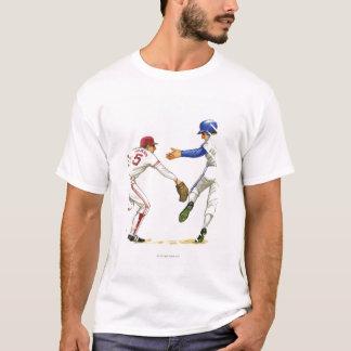 Baseball runner and fielder at a base T-Shirt