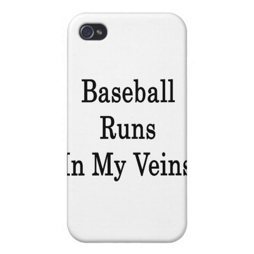 Baseball Runs In My Veins iPhone 4/4S Cover