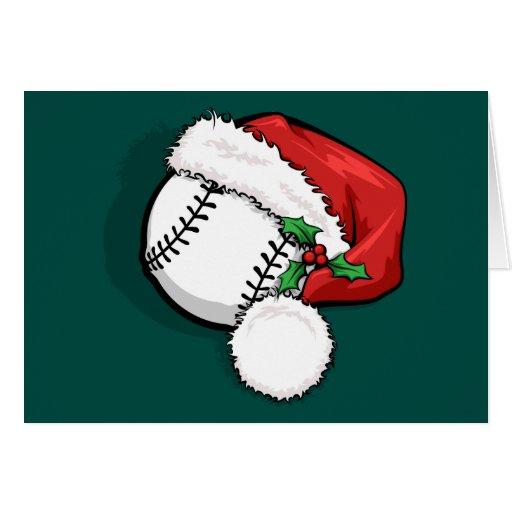 Baseball santa cap christmas card zazzle