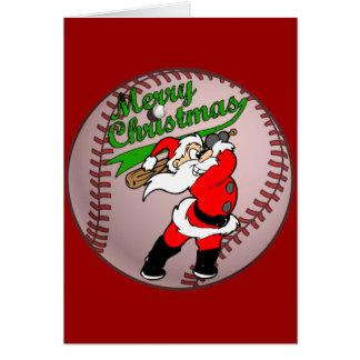 Baseball Santa Christmas 2 Greeting Card