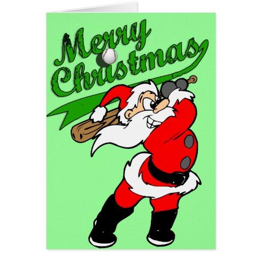 Baseball Santa Christmas Greeting Card