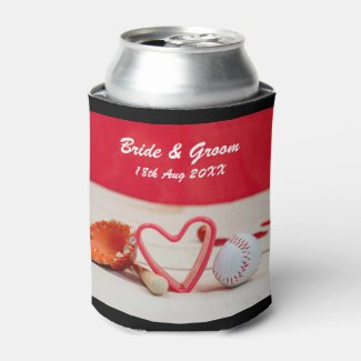Baseball Save the date for wedding with love Can Cooler