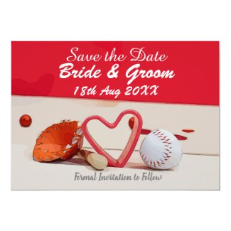 Baseball Save the date for wedding with love Invitation
