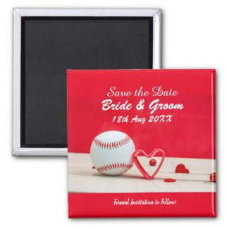 Baseball Save the date for wedding with love Magnet