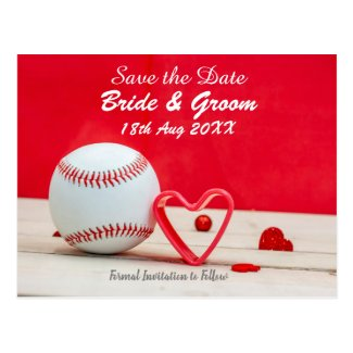 Baseball Save the date for wedding with love Postcard