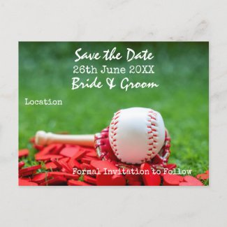 Baseball Save the date for wedding with  red heart Invitation Postcard