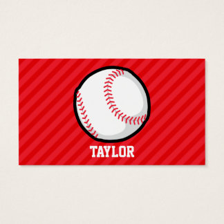 Baseball; Scarlet Red Stripes Business Card