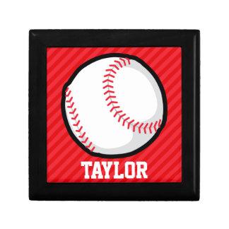 Baseball; Scarlet Red Stripes Keepsake Box