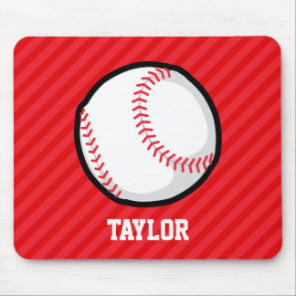 Baseball; Scarlet Red Stripes Mouse Pad