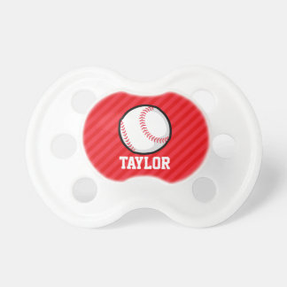 Baseball; Scarlet Red Stripes BooginHead Pacifier