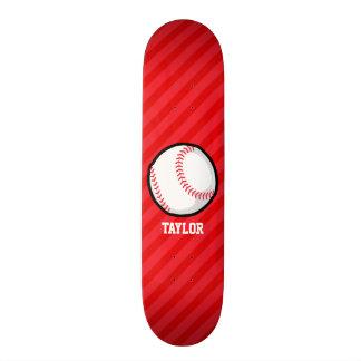 Baseball; Scarlet Red Stripes Skateboard