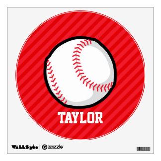 Baseball; Scarlet Red Stripes Wall Graphics