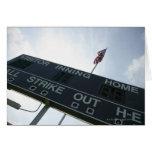 Baseball scoreboard with American flag Card