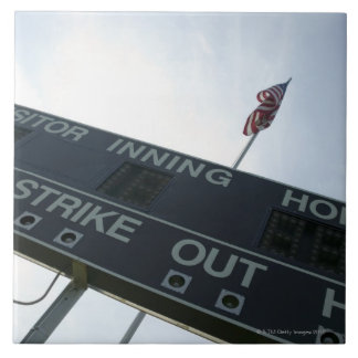 Baseball scoreboard with American flag Ceramic Tile