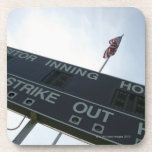 Baseball scoreboard with American flag Coaster