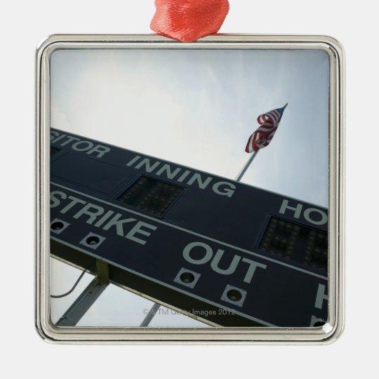 Baseball scoreboard with American flag Metal Ornament