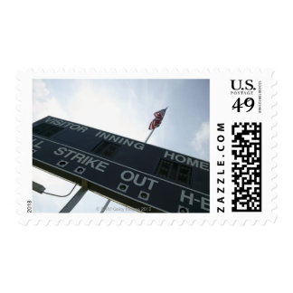 Baseball scoreboard with American flag Postage Stamp