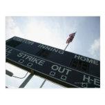 Baseball scoreboard with American flag Postcard