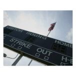 Baseball scoreboard with American flag Poster