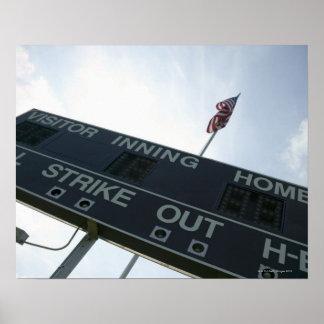 Baseball scoreboard with American flag Poster