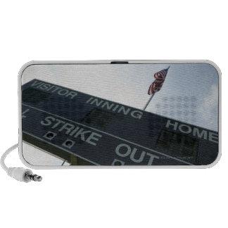 Baseball scoreboard with American flag iPhone Speakers