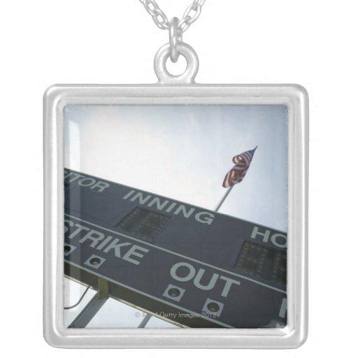 Baseball scoreboard with American flag Square Pendant Necklace