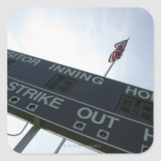 Baseball scoreboard with American flag Square Sticker