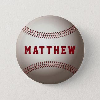 Baseball Shape Personalized Name Pinback Button
