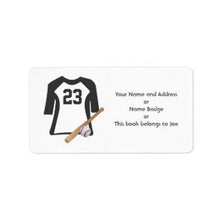 Baseball Shirt With Bat and Ball Avery labels at Zazzle