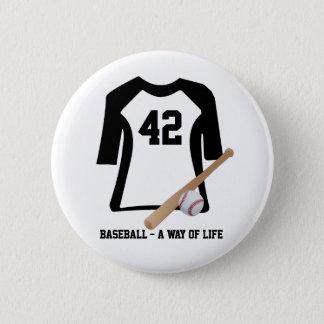 Baseball Shirt With Bat and Ball Badge Name Tag Button