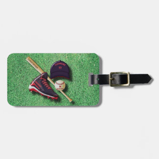 Baseball Shoe Bat Ball Hat With Name And Team Name Tag For Luggage