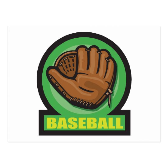 baseball sign mitt icon postcard