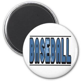 Baseball Silhouette 2 Inch Round Magnet