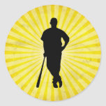Baseball Silhouette; yellow Stickers