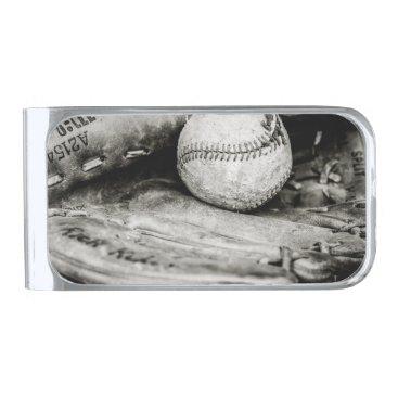 Beach Themed baseball silver finish money clip
