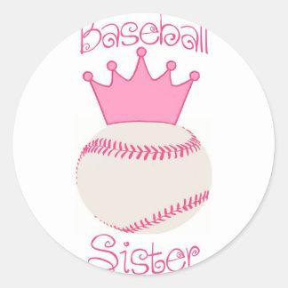 Baseball Sister Classic Round Sticker