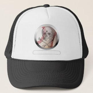 Baseball Skull and Crossbones Trucker Hat