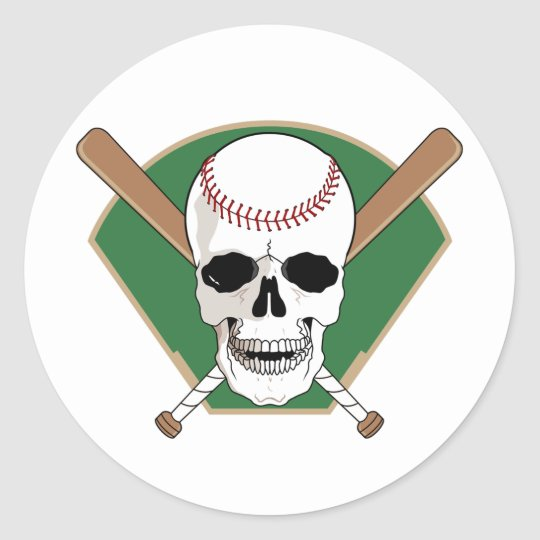 Baseball Skull Classic Round Sticker