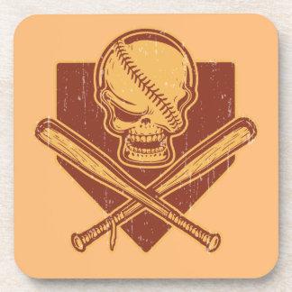 Baseball Skull & Cross Bats Drink Coaster