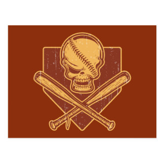 Baseball Skull & Cross Bats Postcard